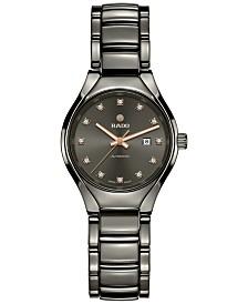 Rado Women's Swiss Automatic True Diamond (1/10 ct. t.w.) Plasma-Tone Ceramic Bracelet Watch 30mm