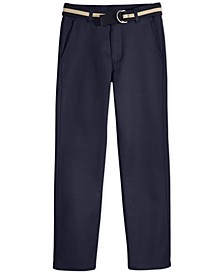 Flat-Front Belted Twill Uniform Pants, Husky Boys