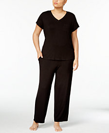 Alfani Plus Size Chiffon-Trimmed T-Shirt & Pajama Pants Sleep Separates, Created for Macy's