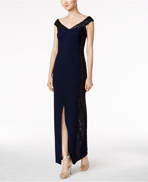 Calvin Klein Off-The-Shoulder Sequined Gown