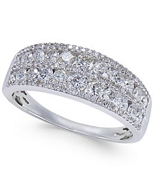 Diamond Two-Row Horizontal Cluster Ring (1 ct. t.w.) in 14k White Gold