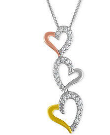 Diamond Tri-Color Triple Heart Pendant Necklace (1/10 ct. t.w.)