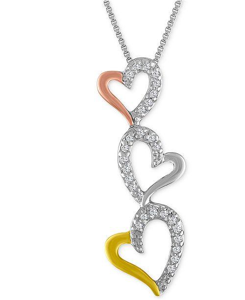 Macy's Diamond Tri-Color Triple Heart Pendant Necklace (1/10 ct. t.w.)