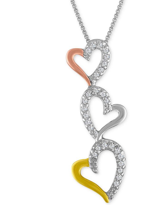 Macy's - Diamond Tri-Color Triple Heart Pendant Necklace (1/10 ct. t.w.)