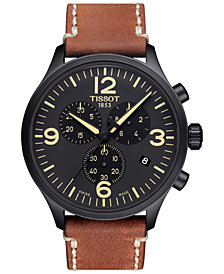 Tissot Men's Swiss Chrono XL Brown Leather Strap Watch 45mm