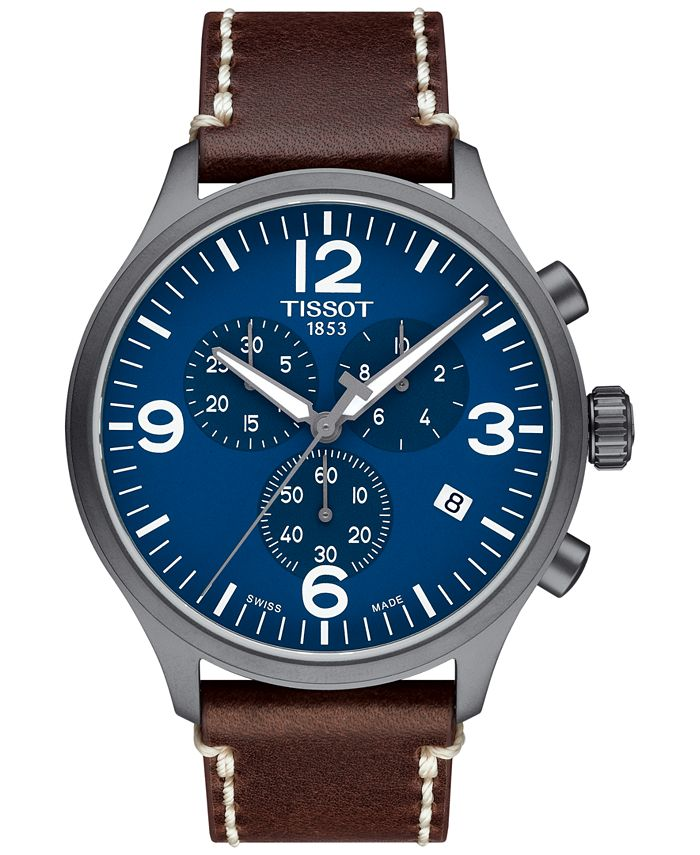 Tissot - Men's Swiss Chrono XL Brown Leather Strap Watch 45mm