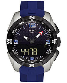 Tissot Men's Swiss Analog-Digital T-Touch Solar Blue Silicone Strap Watch 45mm