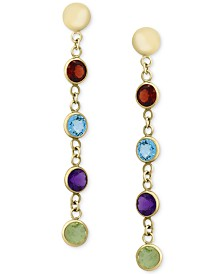 EFFY® Multi-Gemstone Drop Earrings (2-1/5 ct. t.w.) in 14k Gold