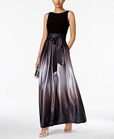 SL Fashions Ombré Satin Bow Sash Gown