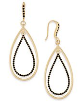 INC International Concepts Gold-Tone Stone Orbital Teardrop Drop Earrings, Created for Macy's