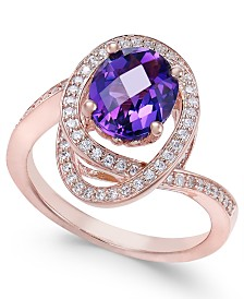 Amethyst (5/8 ct. t.w.) & Diamond (1/3 ct. t.w.) Ring in 14k Rose Gold