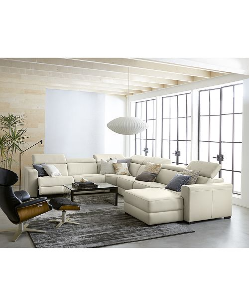 Awesome Nevio Leather Fabric Power Reclining Sectional Sofa With Articulating Headrests Collection Created For Macys Onthecornerstone Fun Painted Chair Ideas Images Onthecornerstoneorg