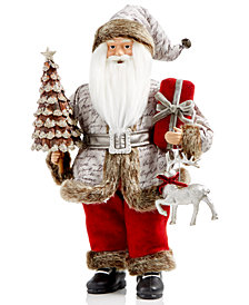 "Holiday Lane 18"" Woodlands Santa Figurine Holding A Tree, Gift & Deer, Created for Macy's"