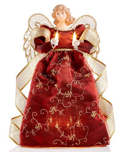 holiday lane burgundy light up angel tree topper created for macys - Christmas Tree Topper Angel