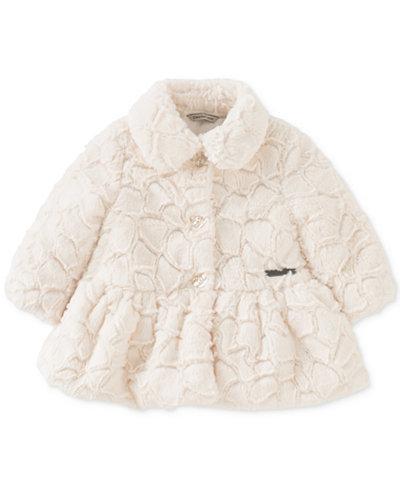 Calvin Klein Faux-Fur Peplum Coat, Baby Girls (0-24 months ...