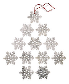 Holiday Lane Set Of 12 Silver Glitter Snowflake Ornaments, Created for Macy's