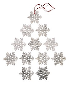 Holiday Lane Upstate Set of 12 Shatterproof Clear Snowflake Ornaments , Created for Macy's