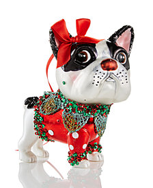 Holiday Lane Glass French Bulldog With Bow Ornament, Created for Macy's