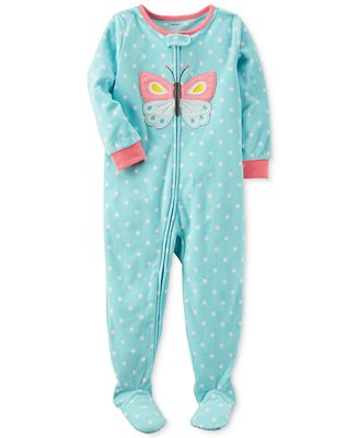 Carter's 1-Pc. Butterfly Dot-Print Footed Pajamas, Baby Girls