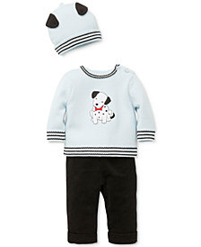 Little Me 3-Pc. Cotton Hat, Dalmatian Sweater & Pants Set, Baby Boys
