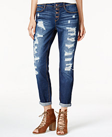 Black Daisy Juniors' Ripped Relaxed Fit Girlfriend Jeans