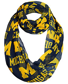 Forever Collectibles Michigan Wolverines All Over Logo Infinity Wrap Scarf