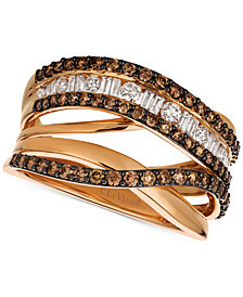 Le Vian Chocolatier® Diamond (1-1/8 ct. t.w.) Crisscross Ring in 14k Rose Gold