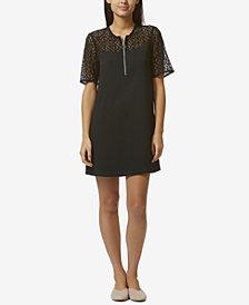 Avec Les Filles Lace-Insert Mini Shift Dress