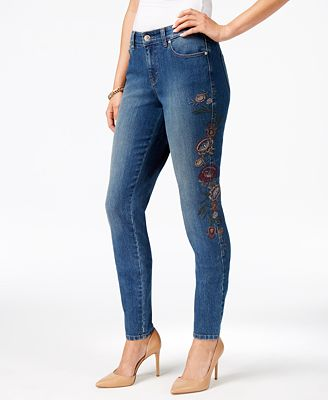 Style & Co Curvy Embroidered Skinny Jeans, Created for Macy's