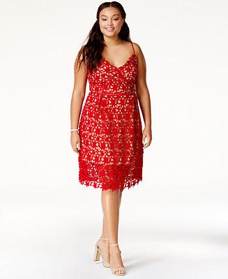 City Chic Plus Size Trendy So Fancy Lace Dress - Dresses ...