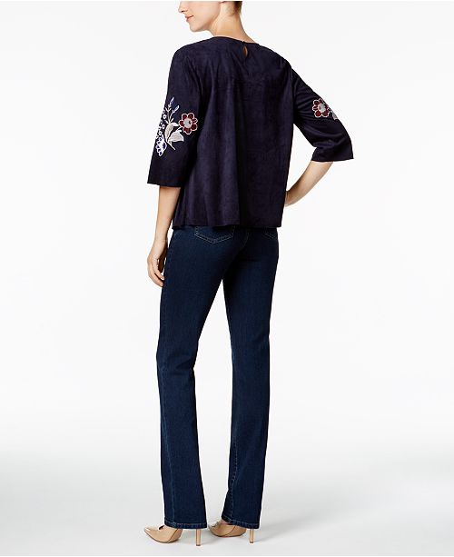 414157bd264 Charter Club Embroidered Faux-Suede Top   Straight-Leg Jeans ...