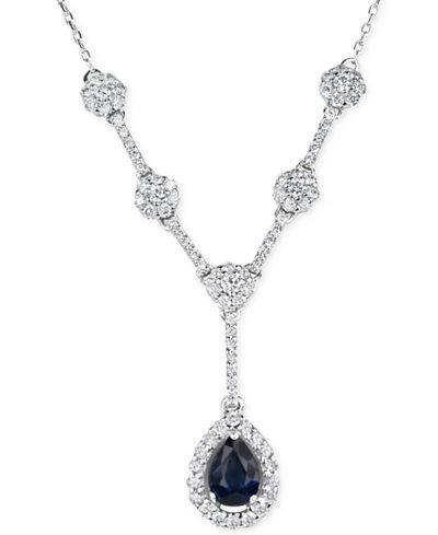 Sapphire (1/2 ct. t.w.) & Diamond (5/8 ct. t.w.) Lariat Necklace in 14k White Gold