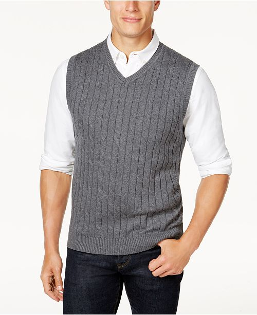 Club Room Mens Cable Knit Cotton Sweater Vest Created For Macys