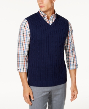 Men's Vintage Vests, Sweater Vests Club Room Mens Cable-Knit Cotton Sweater Vest Created for Macys $13.93 AT vintagedancer.com