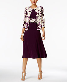Jessica Howard Floral-Print-Contrast Dress and Jacket