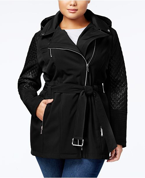 Michael Kors Plus Size Quilted-Sleeve Hooded Softshell Coat