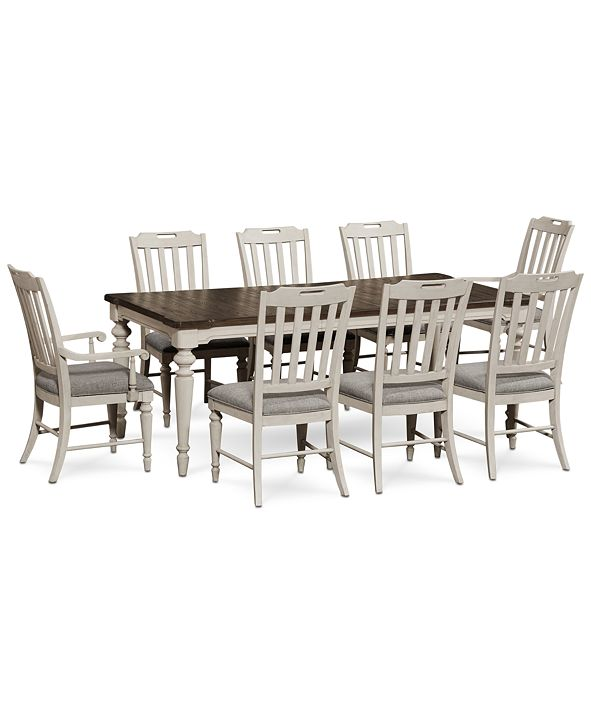 Furniture Barclay Expandable Dining Furniture, 9-Pc. Set (Dining Table, 6 Upholstered Side Chairs & 2 Upholstered Arm Chairs)