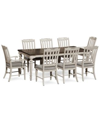 Barclay Expandable Dining Furniture, 9 Pc. Set (Dining Table, 6 Upholstered