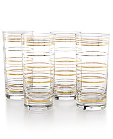 CLOSEOUT! Martha Stewart Collection Highball Glasses with a Twist, Set Of 4, Created for Macy's