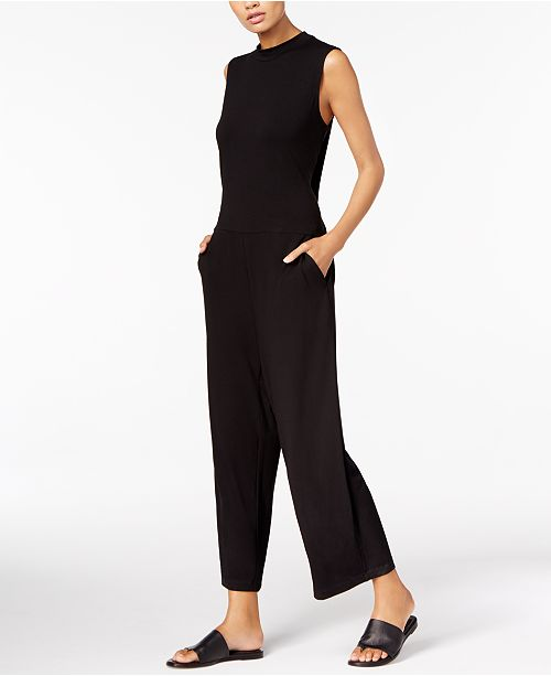 321d0a2c881 Eileen Fisher Stretch Jersey Mock-Neck Cropped Jumpsuit   Reviews ...