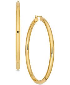 Polished Thin Tube Hoop Earrings in 14k Gold