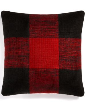 """Closeout! Martha Stewart Collection Buffalo Check 20"""" Square Decorative Pillow, Created for Macy's Bedding 4850755"""