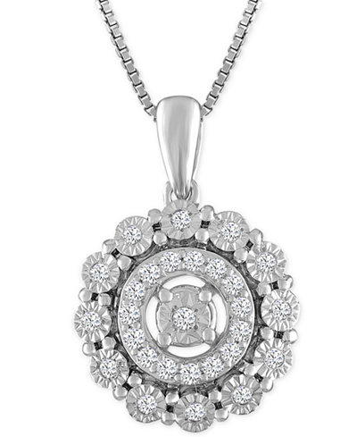 Diamond Round Halo Pendant Necklace (1/5 ct. t.w.) in Sterling Silver