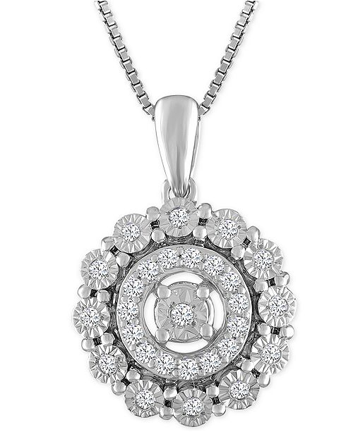 Macy's Diamond Round Halo Pendant Necklace (1/5 ct. t.w.) in Sterling Silver
