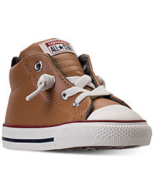 Converse Toddler Boys' Chuck Taylor Street Leather High Top Casual Sneakers from Finish Line