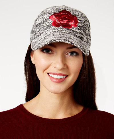 August Hats Floral-Embroidered Bouclé Baseball Cap
