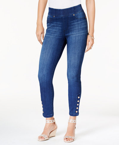 Thalia Sodi Button-Detail Skinny Jeans, Created for Macy's