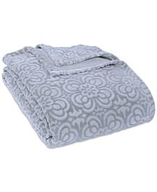 VelvetLoft® Tipped Floral Plush Full/Queen Blanket