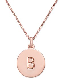 "Rose Gold-Tone Initial Disc Pendant Necklace, 18"" + 2 1/2"" Extender"