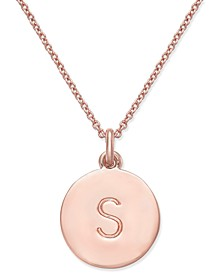 """Rose Gold-Tone Initial Disc Pendant Necklace, 18"""" + 2 1/2"""" Extender"""